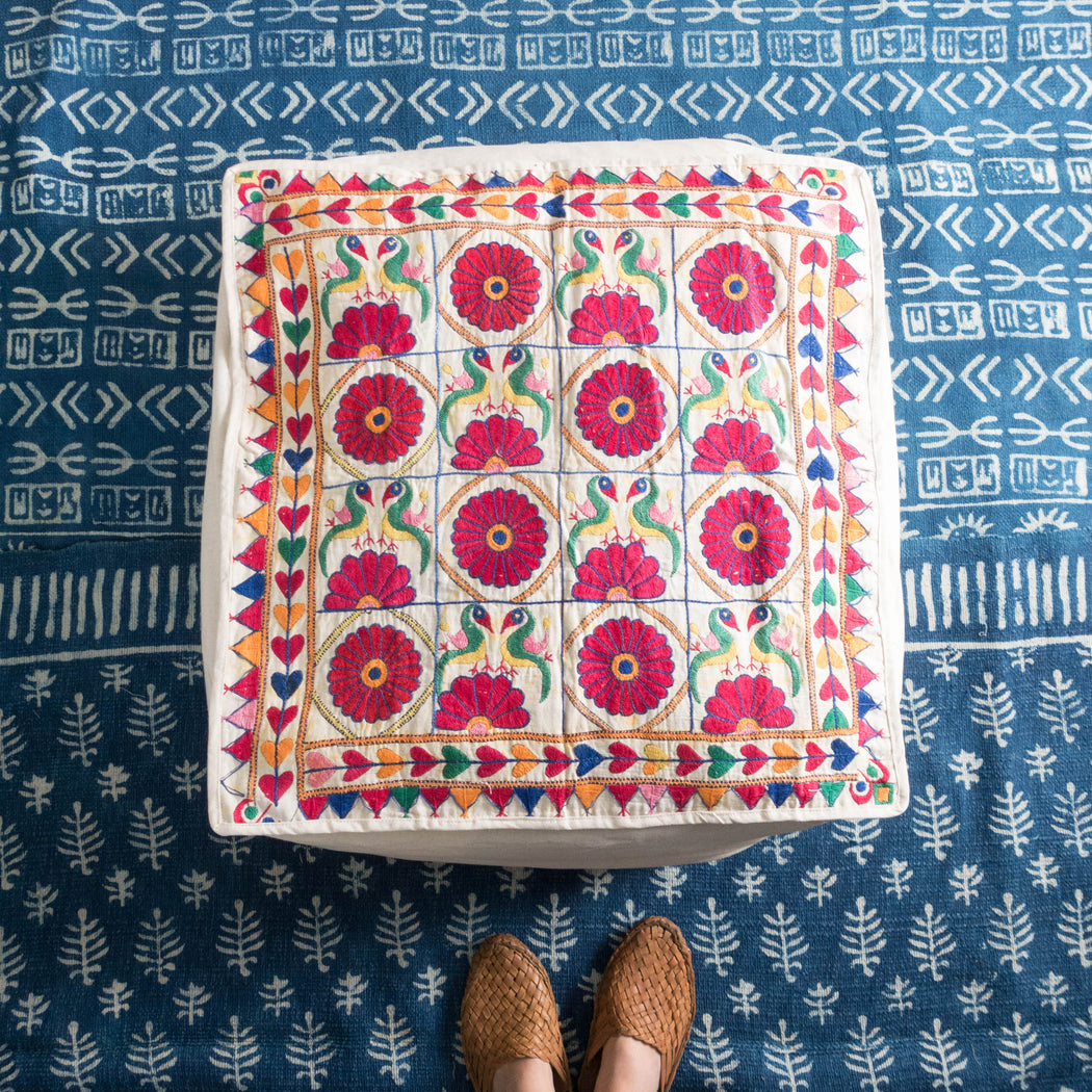 "24"" Indian Embroidered Floor Cushion"