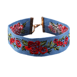 Embroidered Denim Choker