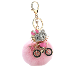 Rhinestones Kitty Bicycle Ride Faux Fur Keychain