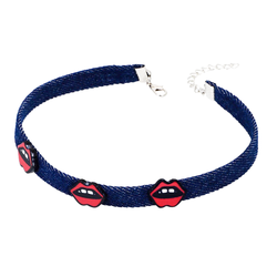 Sexy Lips Denim Choker