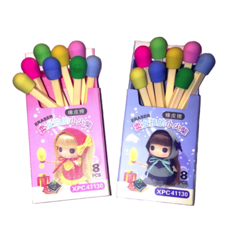 matches erasers