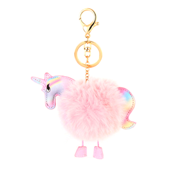 Unicorn Faux Fur Keychain