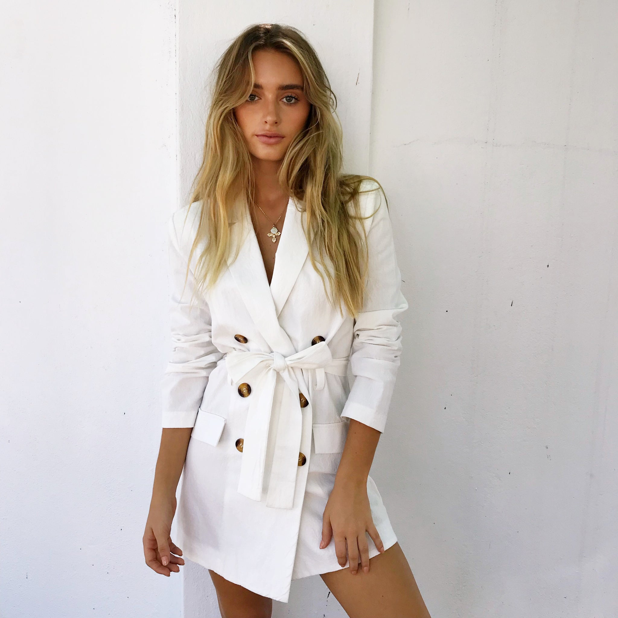 Safari Jacket Dress - White