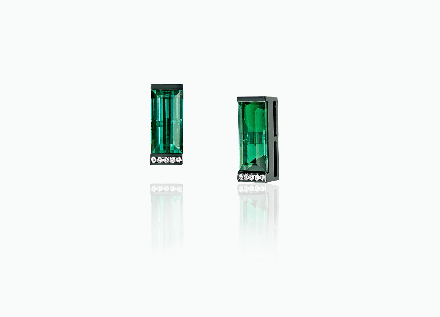 ART DECO LARGE TOURMALINE STUDS WITH DROPS
