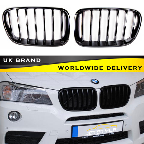 BMW Gloss Black Kidney Front Bumper Radiator F25 X3 2011-2014 Grille M Performance