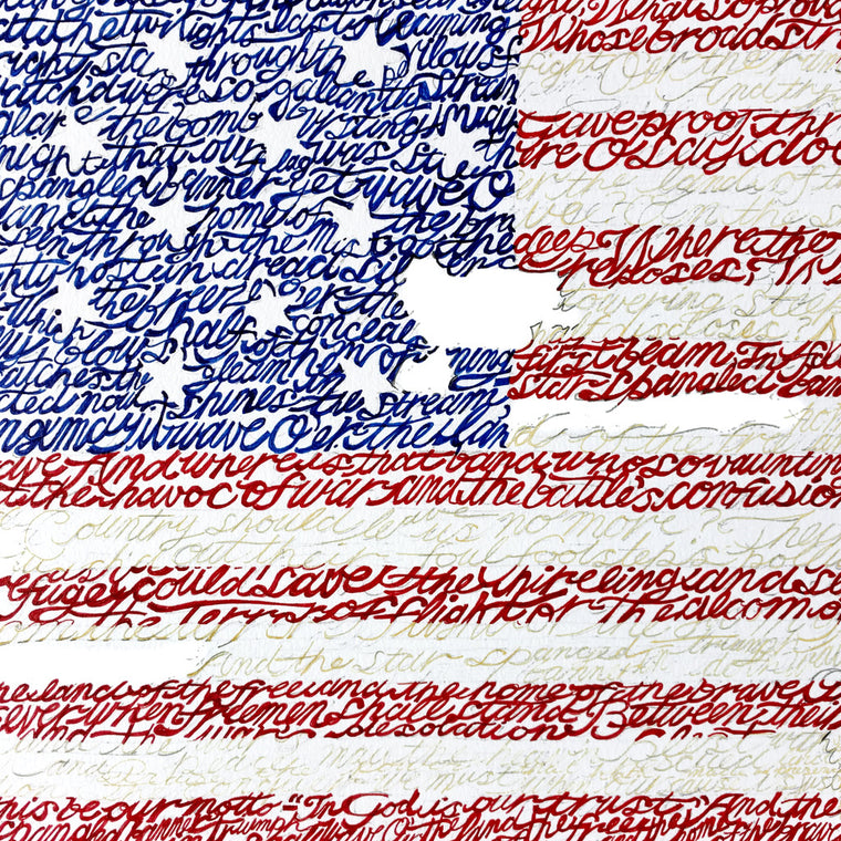 American Flag National Anthem Wall Art Poster