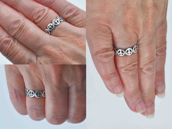Contemporary Sterling Silver Peace Sign Ring, LA Gem & Jewelry Design Inc., Peace Signs, Size 7 3/4, Pre-Owned, Make Love, Not War! #c123