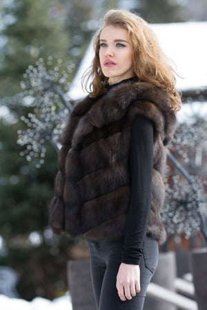 Russian Barguzin Sable Fur Gilet with Hood