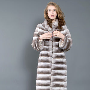 Beige Chinchilla Fur Coat