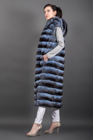 Light Blue Chinchilla Fur long Hooded Vest