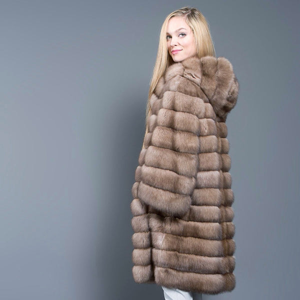 Light Tortora Russian Barguzin Sable Coat with Hood