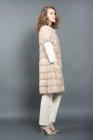 Natural Light Beige Mink Fur Vest