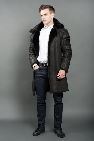 Black Reversible Mink Men Coat