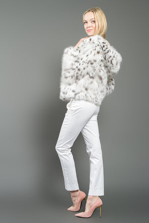 White Lynx Fur Bomber Jacket with Hood