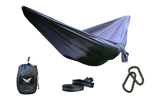 Dark Grey Water Resistant Double Wide Parachute Hammock