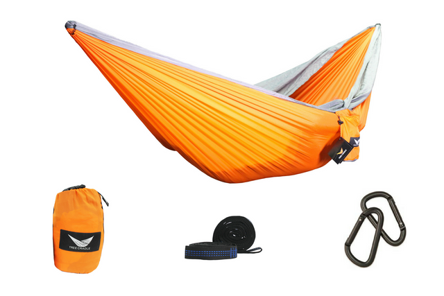 Orange Water Resistant Double Wide Parachute Hammock