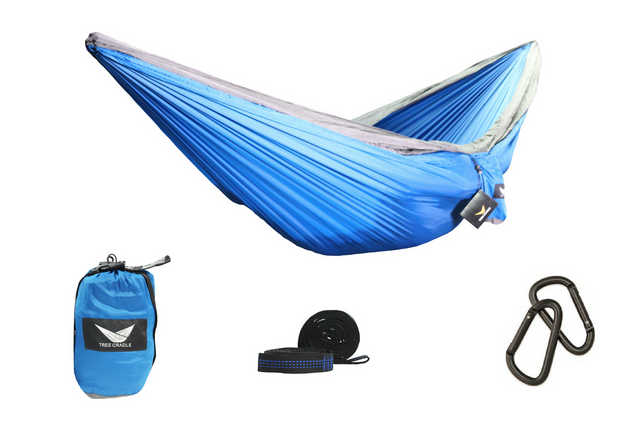 Blue Water Resistant Double Wide Parachute Hammock