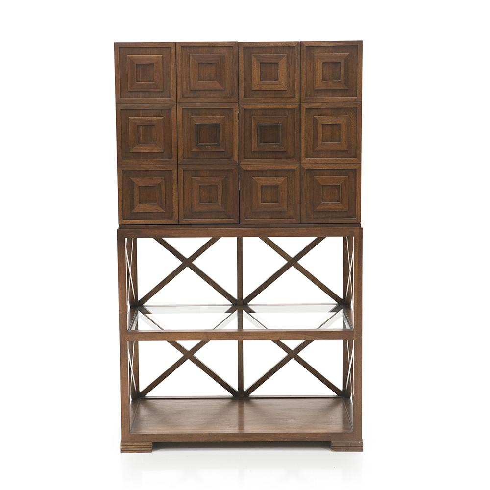 Mirrored Wood Bar Cabinet