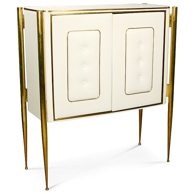 White/Brass Two Door Cabinet