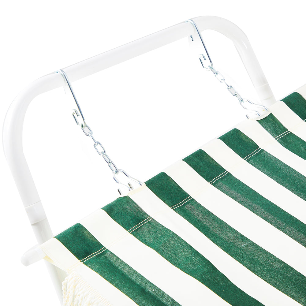 Green and White Striped Fabric Hammock