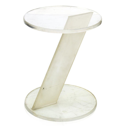 Asymmetrical Lucite Round Side Table
