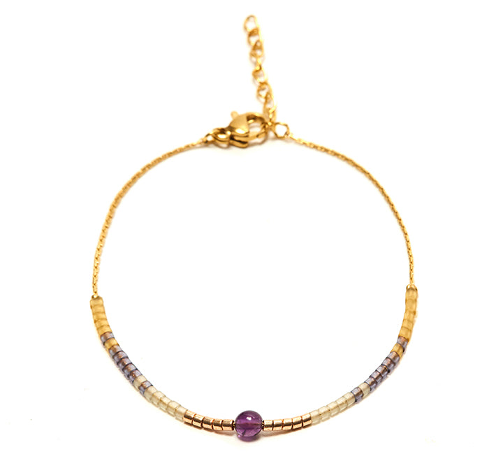 Amethyst Andalusia Gold Snake Bracelet