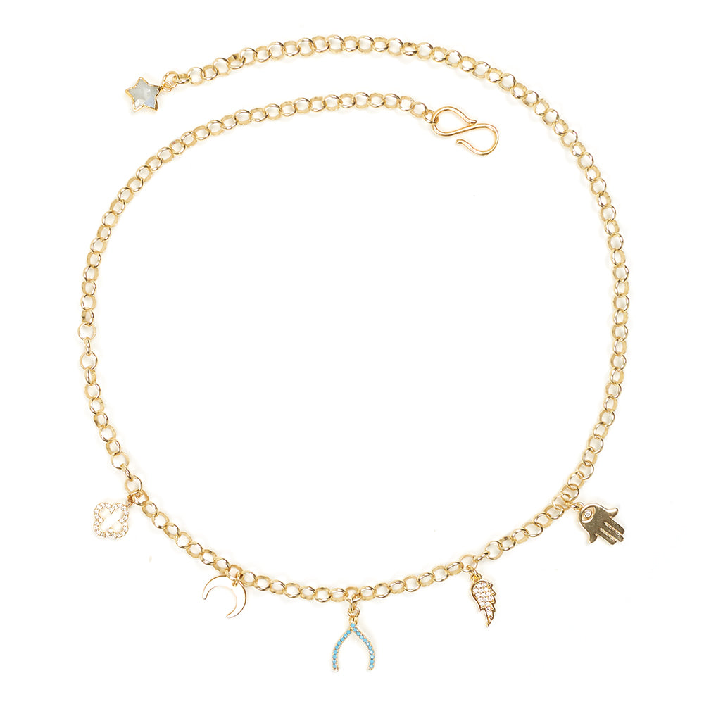 Amulet & Talisman Charm Necklace in Gold