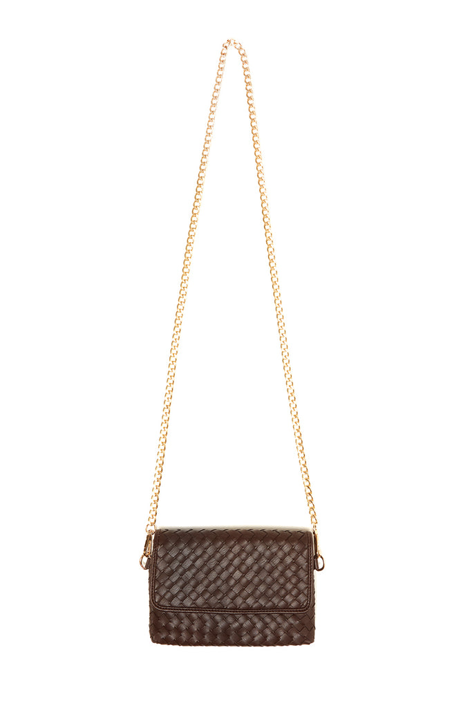 Chocolate  Woven Vegan Leather Hip Pack