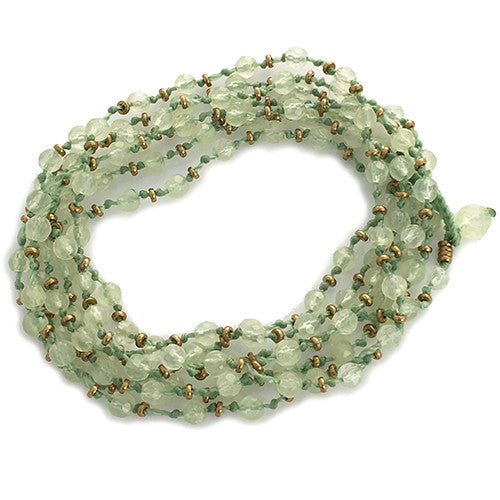 PREHNITE KNOTTED GEMSTONE WRAP