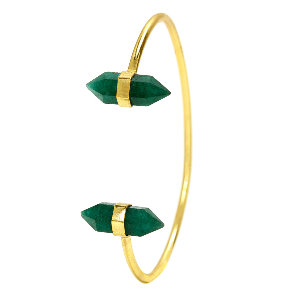 Green Onyx Twin Point Gemstone Cuff