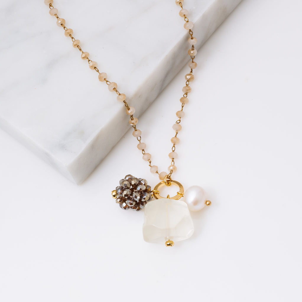 Lemon Crystal and Gemstone Necklace