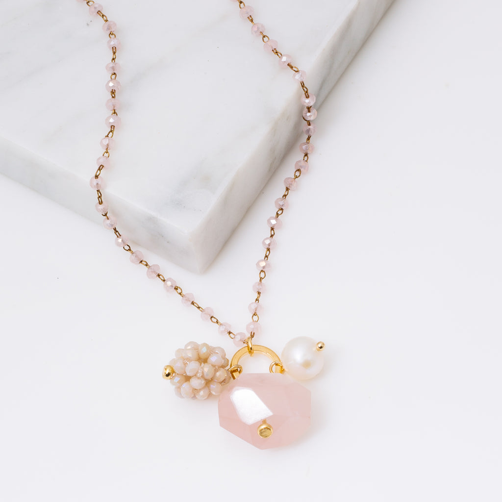 Rose Crystal and Gemstone Necklace