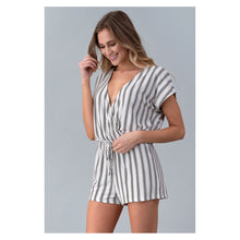 White Striped Short Sleeve Drawstring Casual Romper