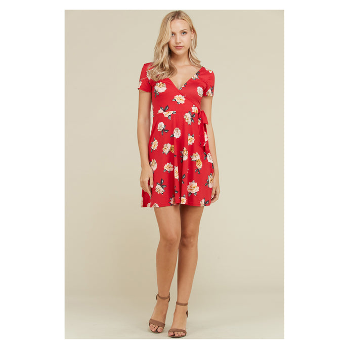 Red Floral Short Sleeve Fit and Flare Casual Sundress