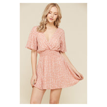 Dress - Blush Pink Star Print Flutter Sleeve Fit and Flare Casual Dress - MBM Unlimited