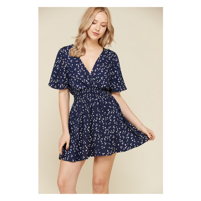 Navy Blue Star Print Flutter Sleeve Fit and Flare Casual Dress