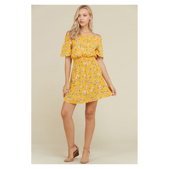 Yellow Floral Off the Shoulder Fit and Flare Casual Sundress