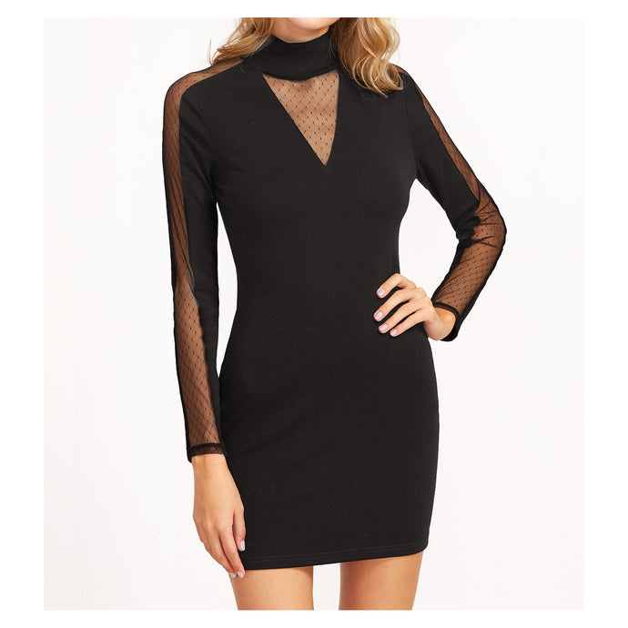 Dress - Black High Neck Dotted Mesh Long Sleeve Bodycon Dress - MBM Unlimited