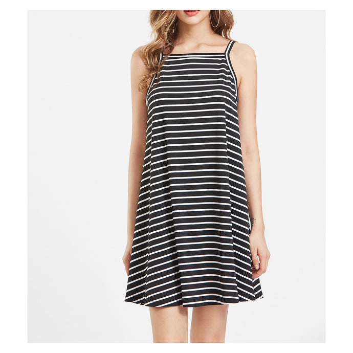 Dress - Black Sleeveless Striped Swing Dress - MBM Unlimited