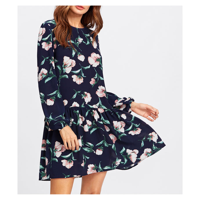 Dress - Dark Blue Floral Long Sleeve Shift Dress - MBM Unlimited