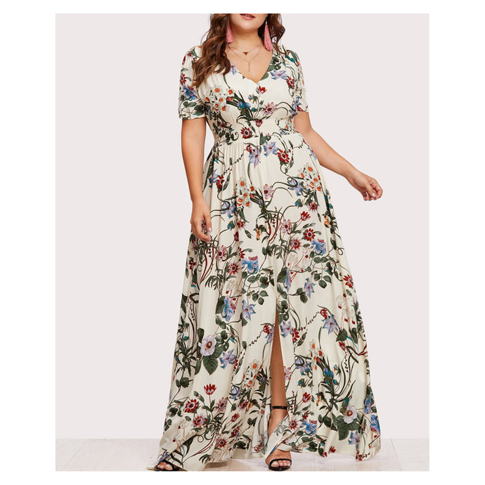 Dress - Light Yellow Floral Short Sleeve Button Down Maxi Dress - MBM Unlimited