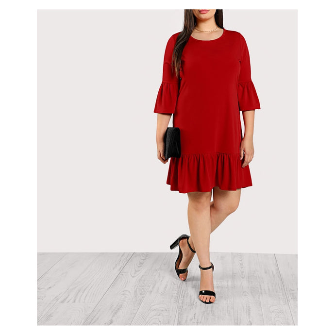 Red 3/4 Trumpet Sleeve Ruffle Plus Size Dress