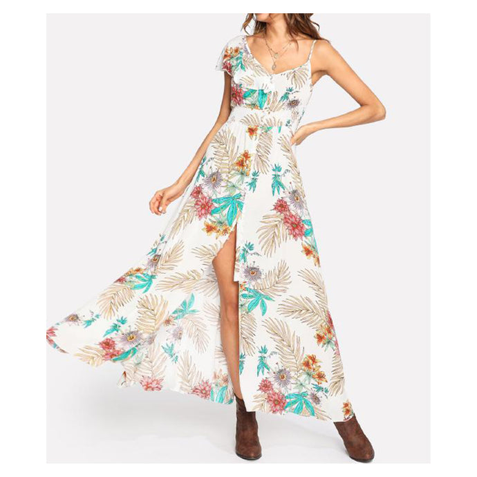 White Tropical Print Button Down Maxi Dress
