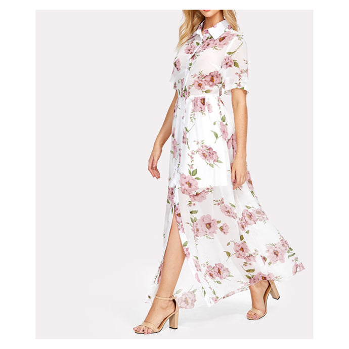 White Floral Short Sleeve Button Down Maxi Shirt Dress