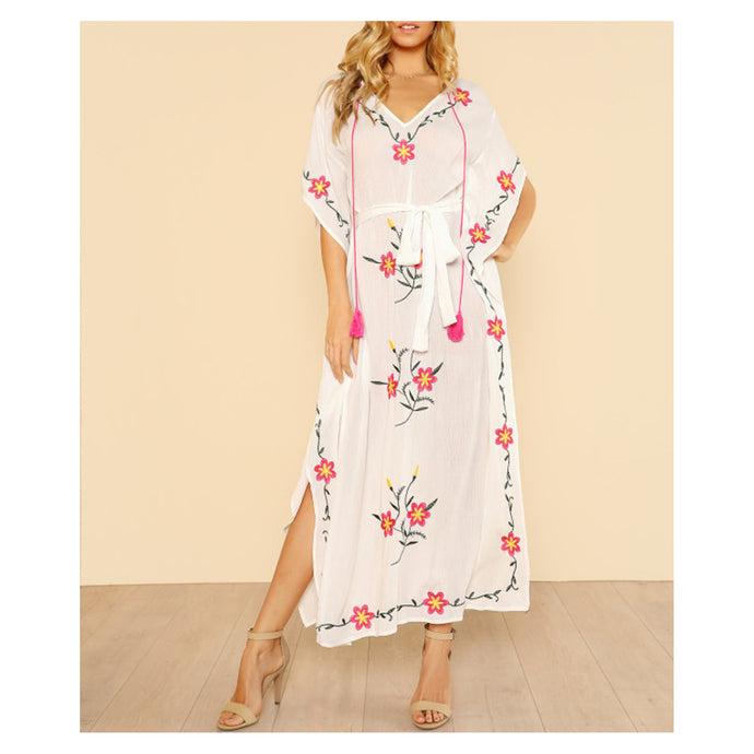 White Flower Embroidered Kaftan Tunic Cover Up Dress