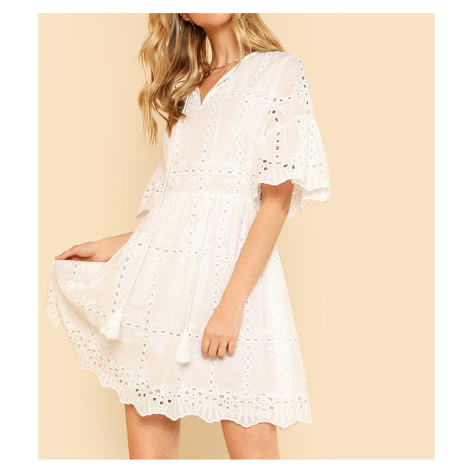 White Short Sleeve Eyelet Tassel Dress