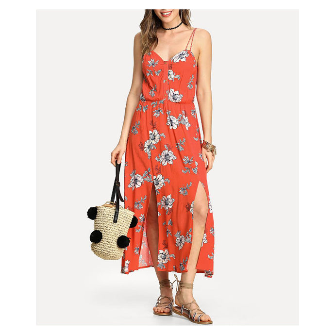 Dress - Red Floral Sleeveless M Slit Maxi Dress - MBM Unlimited