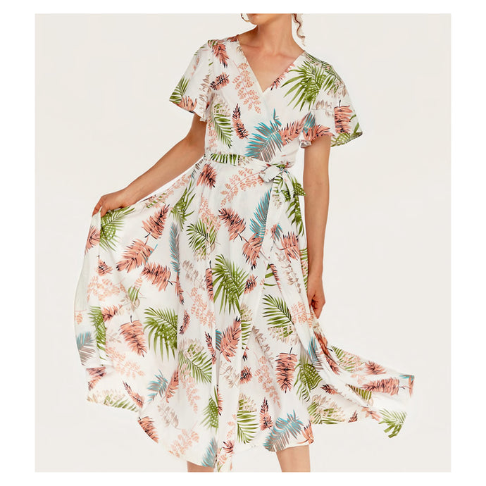 White Leaves Tropical Print Short Sleeve Wrap Dress