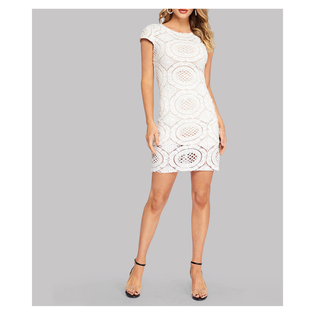 White Short Sleeve Bodycon Cut Out Crochet Lace Cocktail Pencil Dress