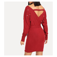 Red Off the Shoulder Pearl Embellished Bodycon Dress